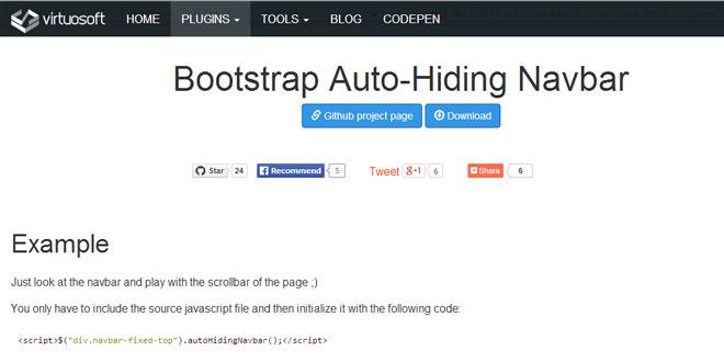 Js Tutorial - Bootstrap Auto-Hiding Navbar