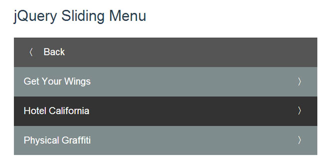 jQuery Sliding Menu
