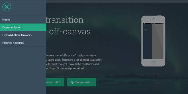 Pure Drawer - Pure CSS transition effects for off-canvas views