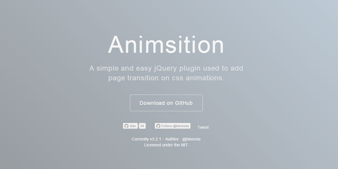 Animsition - Add page transition on css animations