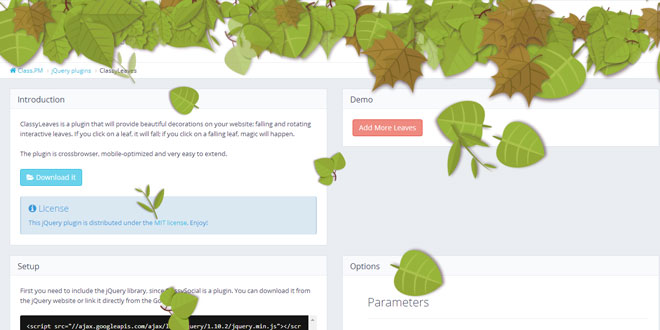 ClassyLeaves - Falling and rotating interactive leaves