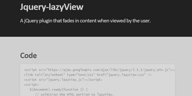 Jquery lazyView - Fades in content