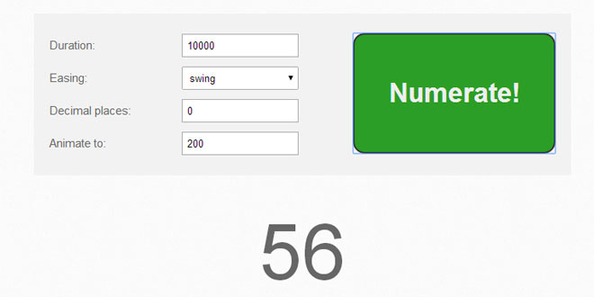 jQuery Numerator - Easily animate numbers