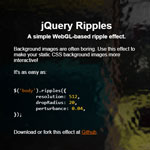 jQuery Ripples - A simple WebGL-based ripple effect.