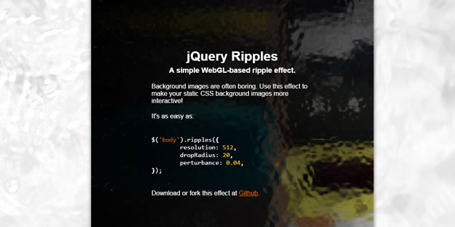 Js Tutorial - jQuery Ripples - A simple WebGL-based ripple effect