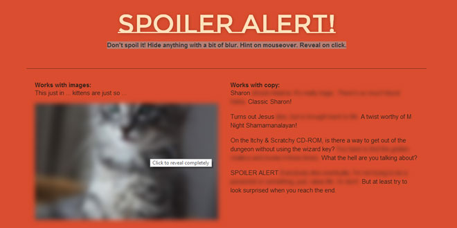 Spoiler alert - Hide spoilers on your site