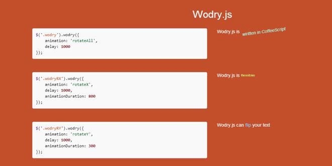 Wodry.js - Text flipping/rotating