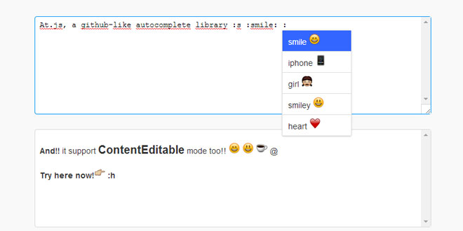 At.js - Add Github like mentions autocomplete
