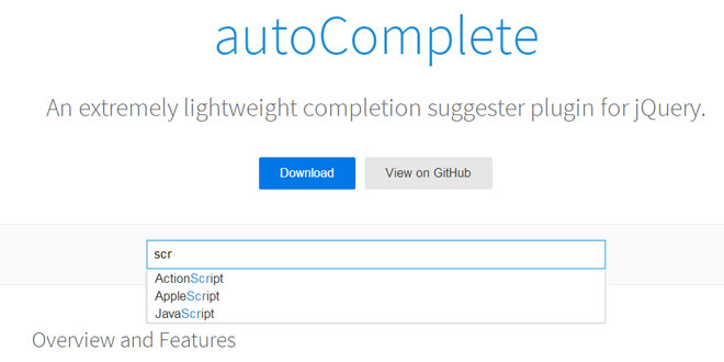 jQuery autoComplete - Lightweight completion suggester