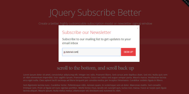 Subscribe Better - Highly customizable subscription modal