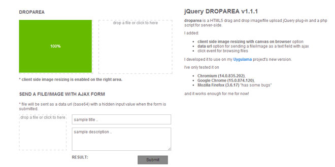 jQuery Droparea - HTML5 drag and drop image/file upload