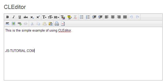 Js Tutorial - CLEditor - WYSIWYG HTML editor