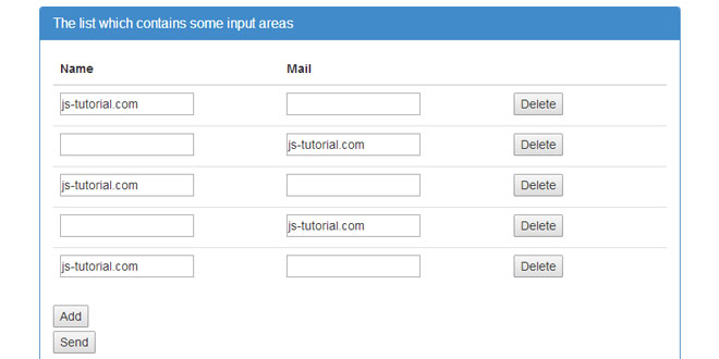 jQuery add-input-area -  Add or delete Form elements