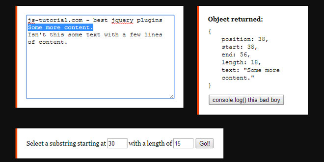 jQuery Textrange - Getting, setting and replacing the selected text