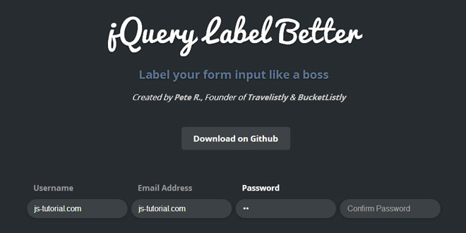 jQuery Label Better - Label your form input like a boss