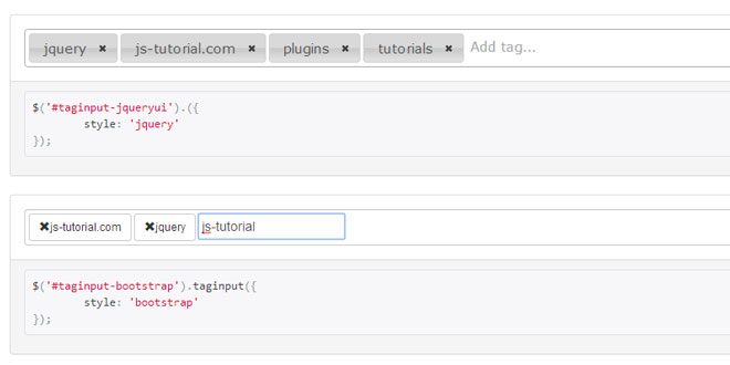 jQuery Taginput - Creating tags in an input field