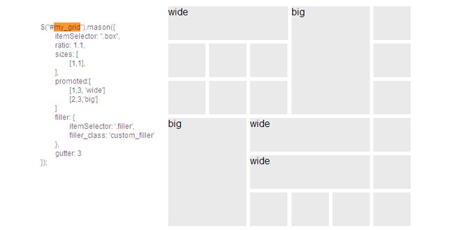 Mason.js - Creating a perfect grid with jQuery