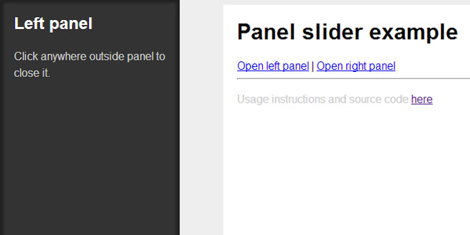 jQuery Side panel slider plugin