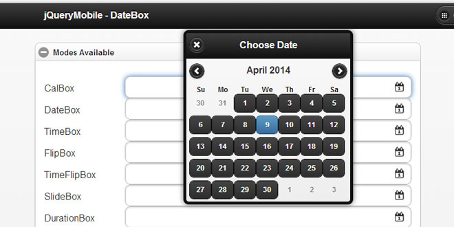 jQueryMobile DateBox - Date and Time Picker plugin