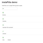 instaFilta - jQuery plugin for performing in-page filtering