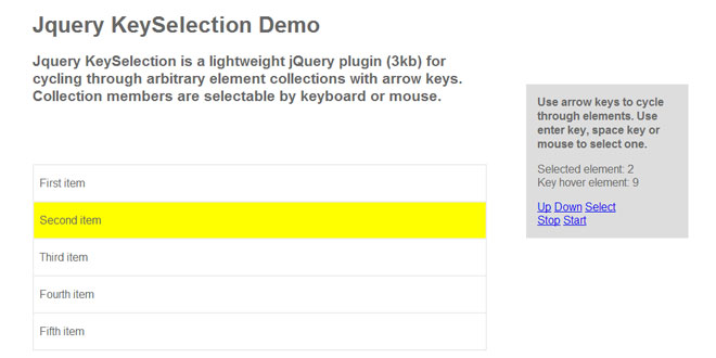 jQuery keySelection -  Cycling through arbitrary element collections