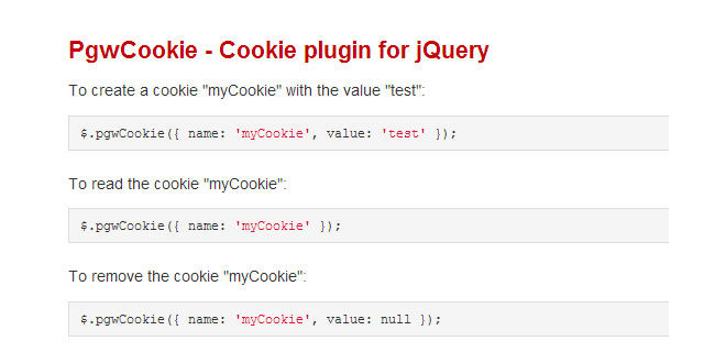 PgwCookie - Cookie plugin for jQuery
