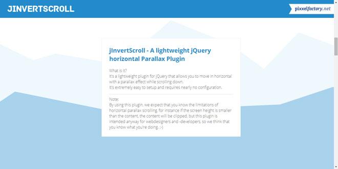 Js Tutorial - jInvertScroll - jQuery horizontal Parallax Plugin