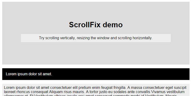 ScrollFix - Make an element fixed when it goes out of view