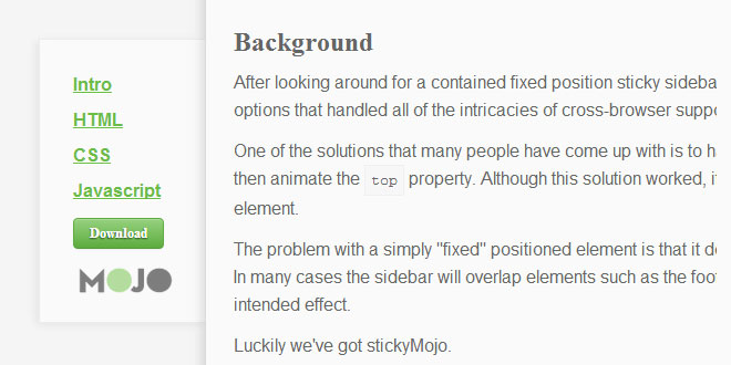 stickyMojo - contained sticky sidebar