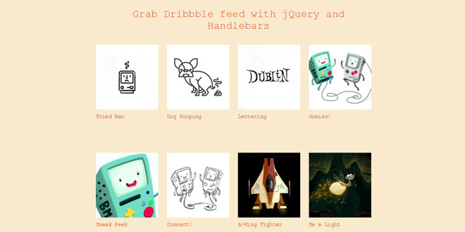 Dribbble - Grab Dribbble feed with jQuery and Handlebars