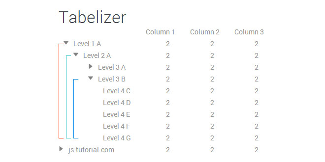 jquery tabelizer - Multi level grouping indicators