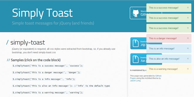 Simply Toast - Simple toast messages for jQuery
