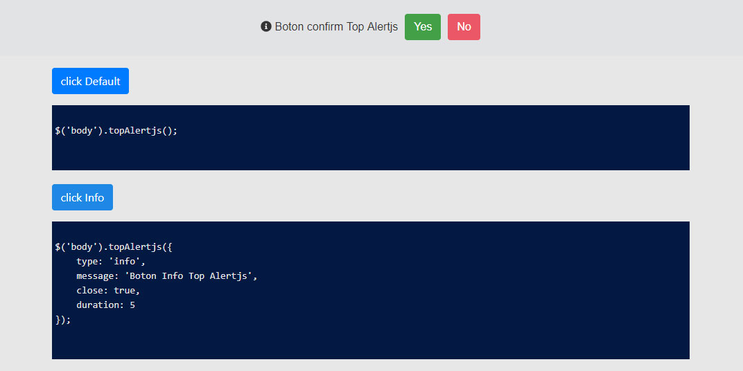 jQuery Top Alertjs - Sticky notification and confirmation bars